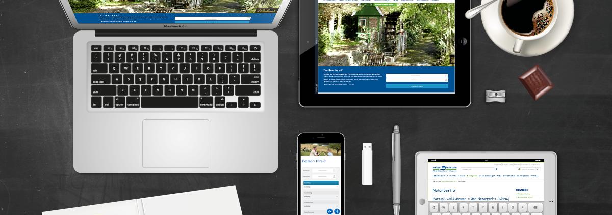 Darstellung Relaunch Tourismus Mittelholstein auf Laptop, Tablet und Smartphone