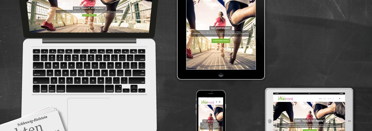 Darstellung Launch Vitalnord auf Laptop, Tablet und Smartphone