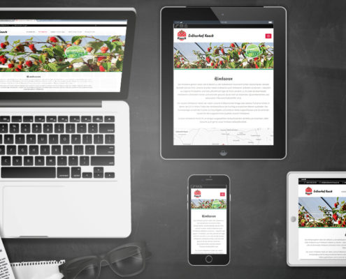 Darstellung Relaunch Erdbeerhof KaackSH auf Laptop, Tablet und Smartphone