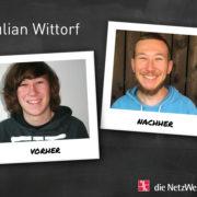 Julian Wittorf vor und nach der Ausbildung