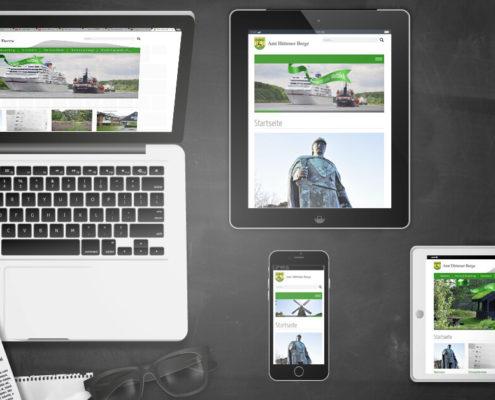 Darstellung Relaunch Amt Hüttener Berge auf Laptop, Tablet und Smartphone